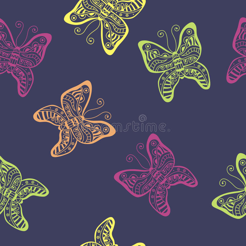 Butterfly pink yellow green seamless pattern illustration vector illustration