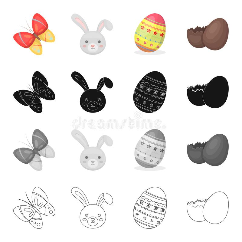 Butterfly, rabbit face, Easter egg, chocolate shell. Easter set collection icons in cartoon black monochrome outline vector illustration
