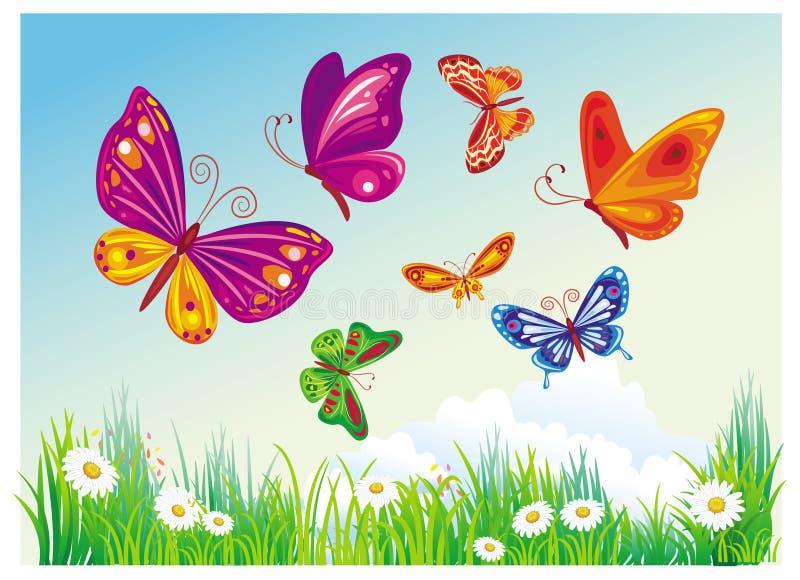 Butterfly's of blue sky stock illustration