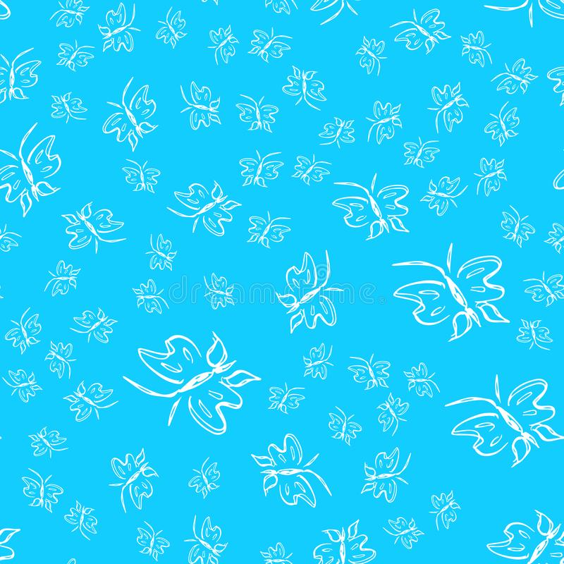 Butterfly seamless outline vector in line art style on blue background. Line art butterfly. Cartoon animals. Simple design. Seamless pattern. Exotic wallpaper royalty free stock image