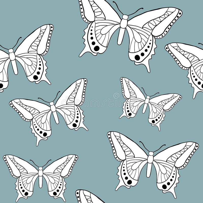 Butterfly seamless patter. N: vector texture with doodle outline insects. Sketch style colorful background for textile, fabric, wrapping paper. Hand drawn royalty free stock photo