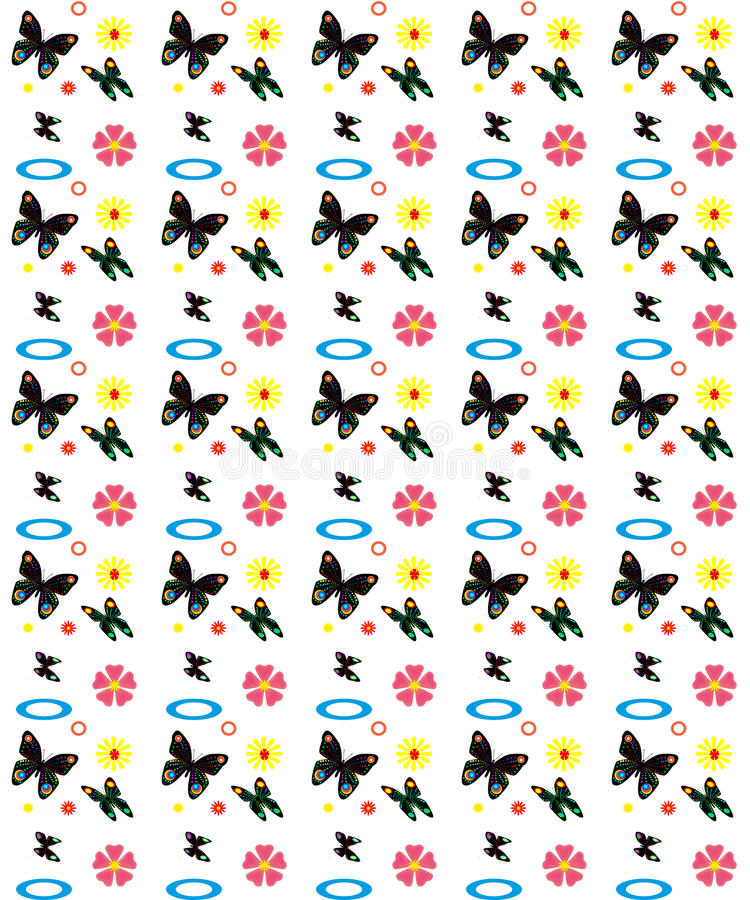 Butterfly seamless pattern. Bright seamless pattern with butterflies and flowers stock illustration