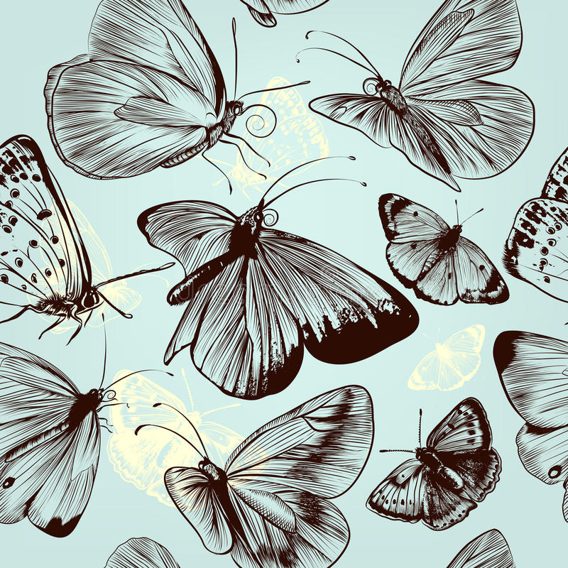Butterfly seamless pattern with engraved insects in vintage style stock illustration