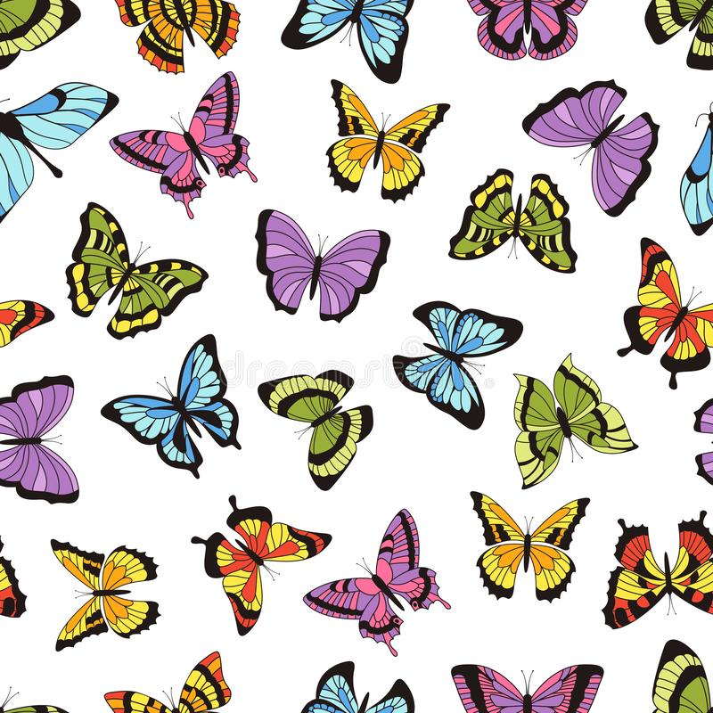 Butterfly seamless pattern. Floral garden print, seamless graphic background with butterflies and flowers. Vector hand royalty free illustration