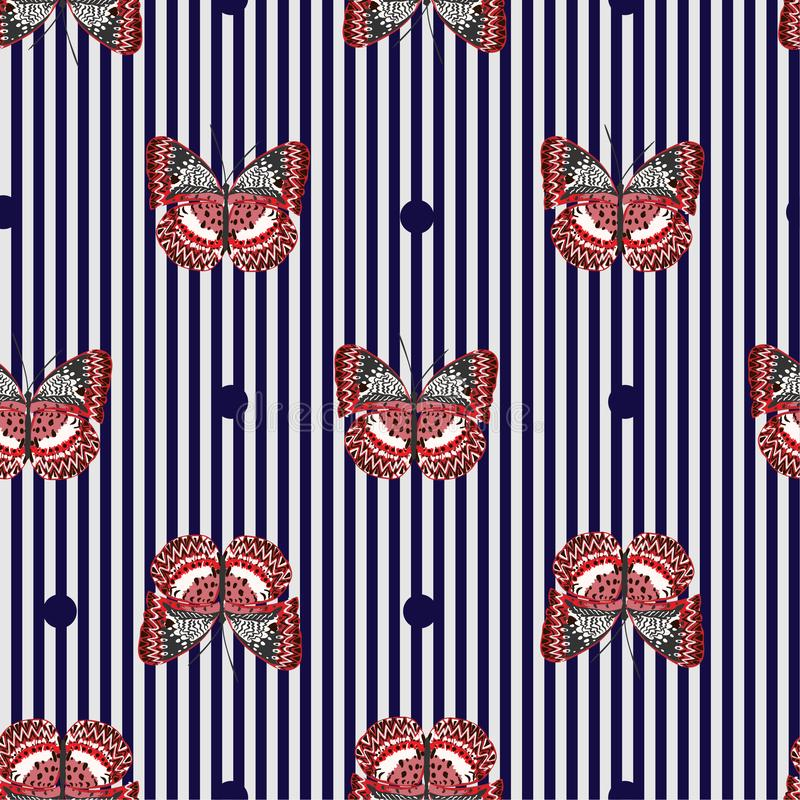Butterfly Seamless Pattern On Navy Blue And White Stripe ...