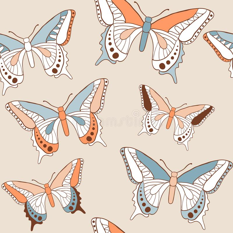 Butterfly seamless pattern. Vector texture with doodle outline insects. Sketch style colorful background for textile, fabric, wrapping paper. Hand drawn stock illustration