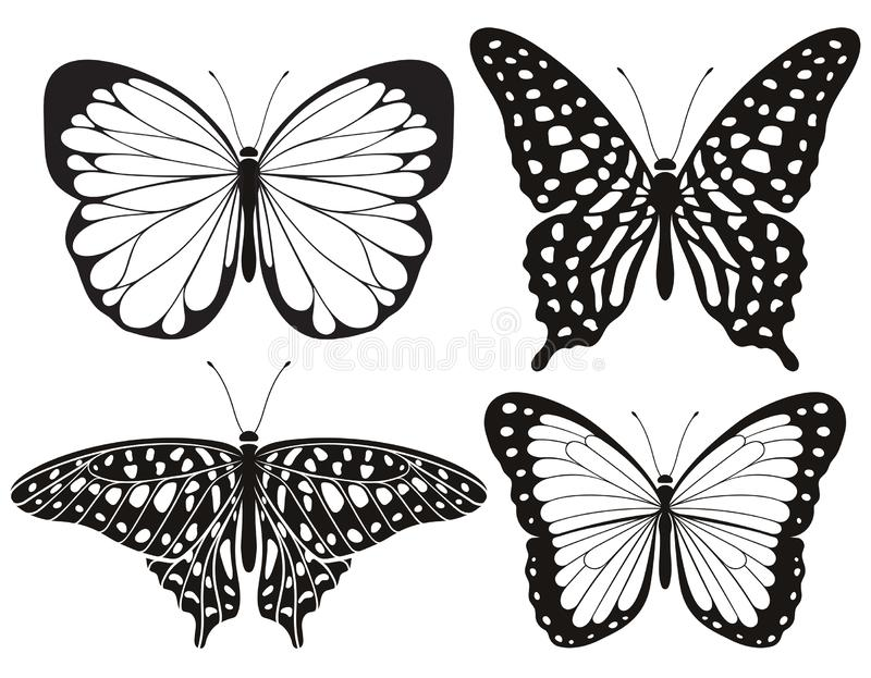 Butterfly silhouette icons set. Vector Illustrations. Butterfly silhouette icons set. Vector stock illustration