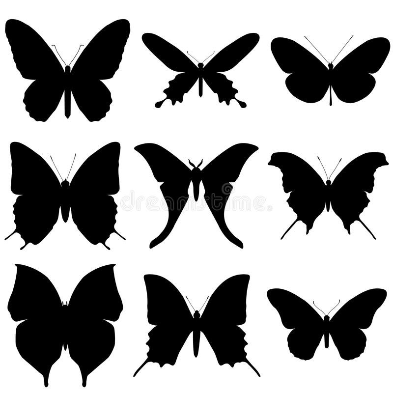 Butterfly silhouette set. Icon collection. royalty free illustration