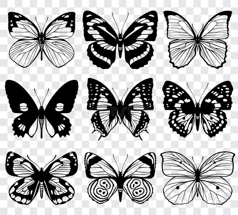 Butterfly silhouettes vector macro collection. Set of butterfly set, illustration of black silhouette butterflies royalty free illustration