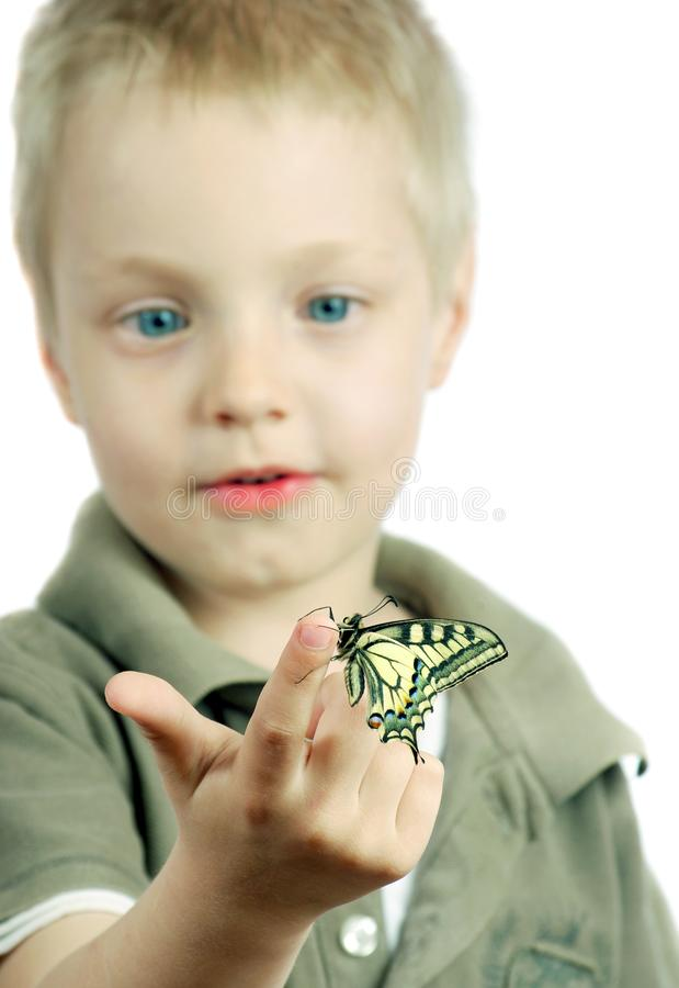 Butterfly sitting on the hand of a child. Child with a butterfly. Selective focus. Butterfly sitting on the hand of a child. Child with a butterfly stock photography
