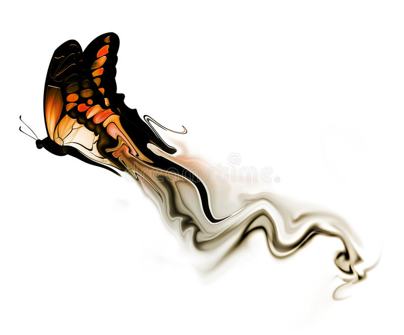 Butterfly with smoke stock illustration