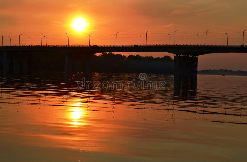 Dnepr river. Sunset on the Dnepr river stock photo