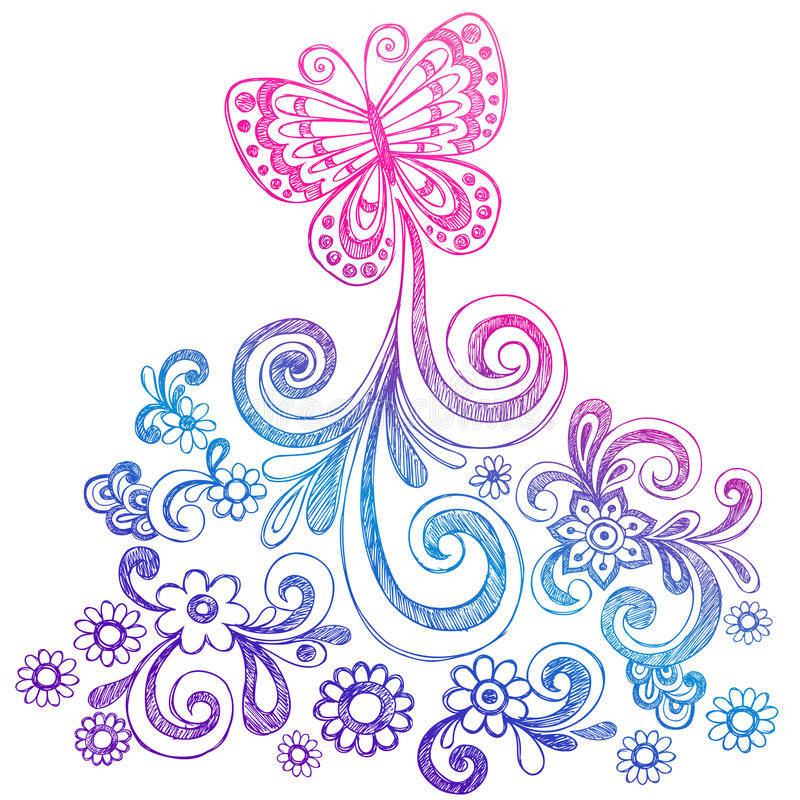 Butterfly and Swirls Doodle Vector royalty free illustration