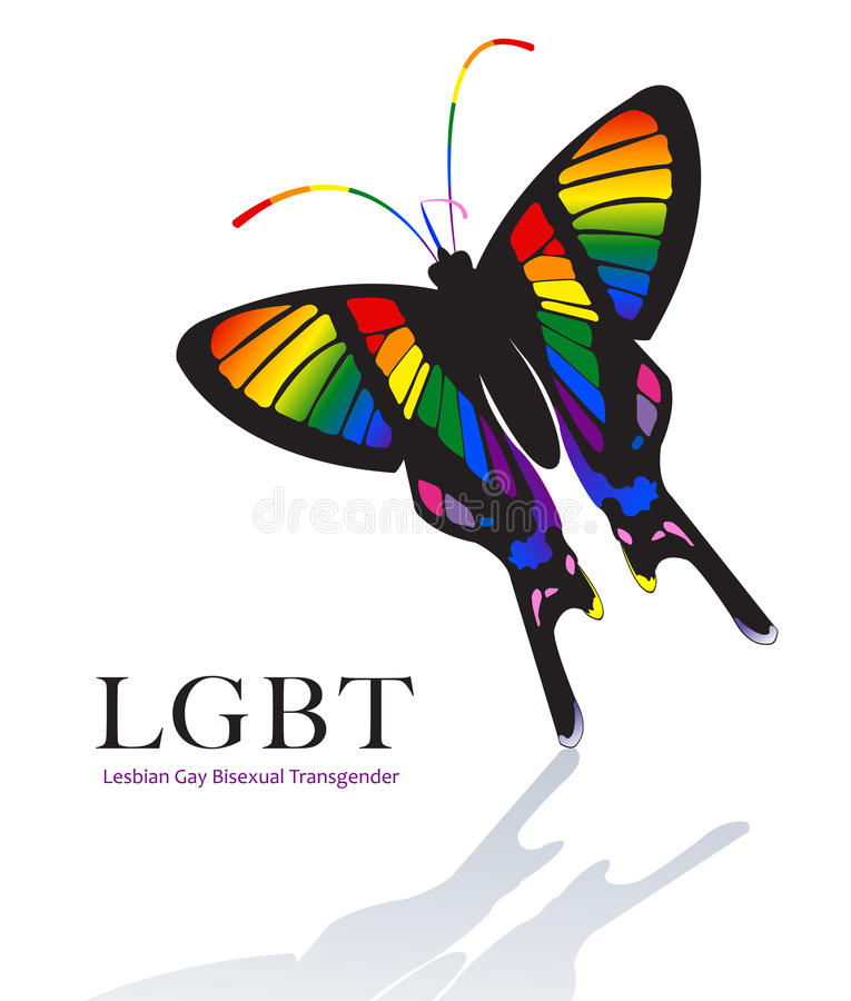 Butterfly in Rainbow Color Scheme vector illustration