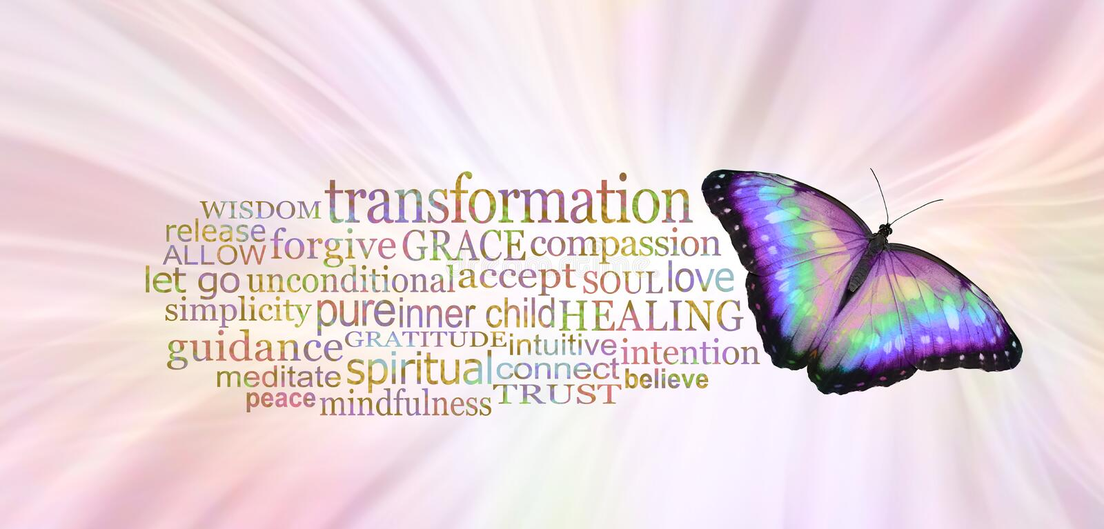 The Butterfly Symbolises Transformation Word Tag Cloud. A multicoloured butterfly beside a TRANSFORMATION word cloud against a radiating pale pink background stock image