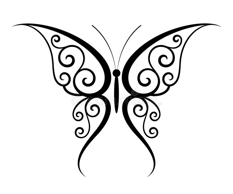 Butterfly tattoo royalty free illustration