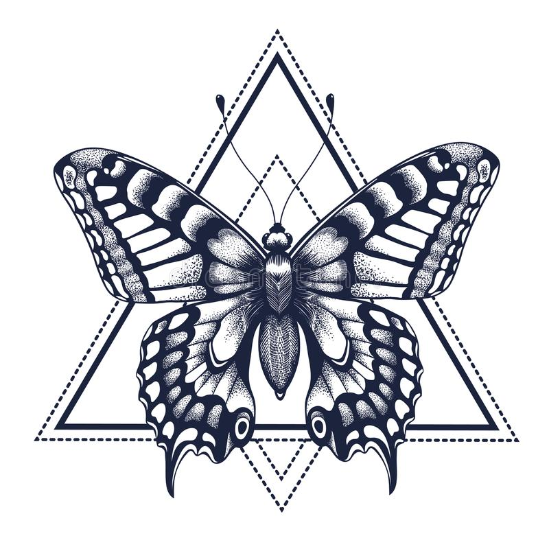 Butterfly tattoo. Dotwork tattoo. Graphic arts. Butterfly in triangle, geometry. Mystical symbol of freedom, nature, air stock illustration