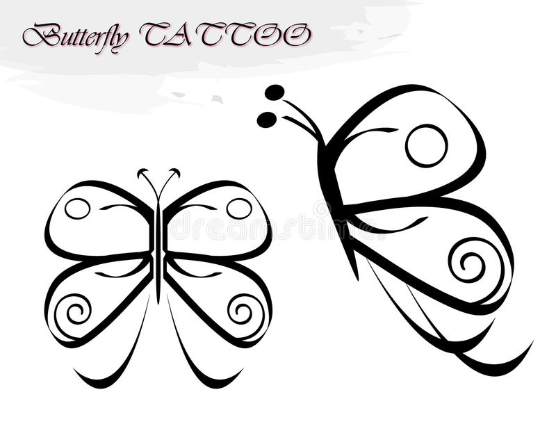Butterfly tattoos royalty free illustration