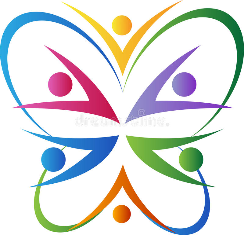 Butterfly team. A vector drawing represents butterfly team design royalty free illustration