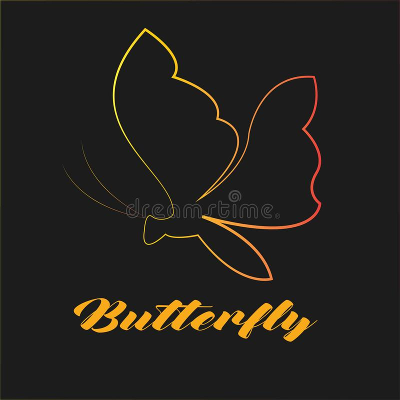 Butterfly - Template Logo for company or store optcal. Template Logo Design. Design for logo your business or your company. green and orange. Editable for your royalty free illustration