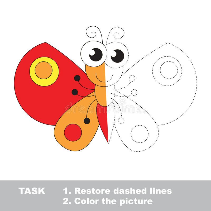 Butterfly to be colored. Vector trace game. Butterfly in vector to be traced. Restore dashed line and color the picture. Visual game for children. Easy stock illustration