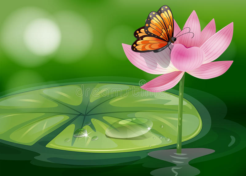 A butterfly at the top of a pink flower. Illustration of a butterfly at the top of a pink flower vector illustration