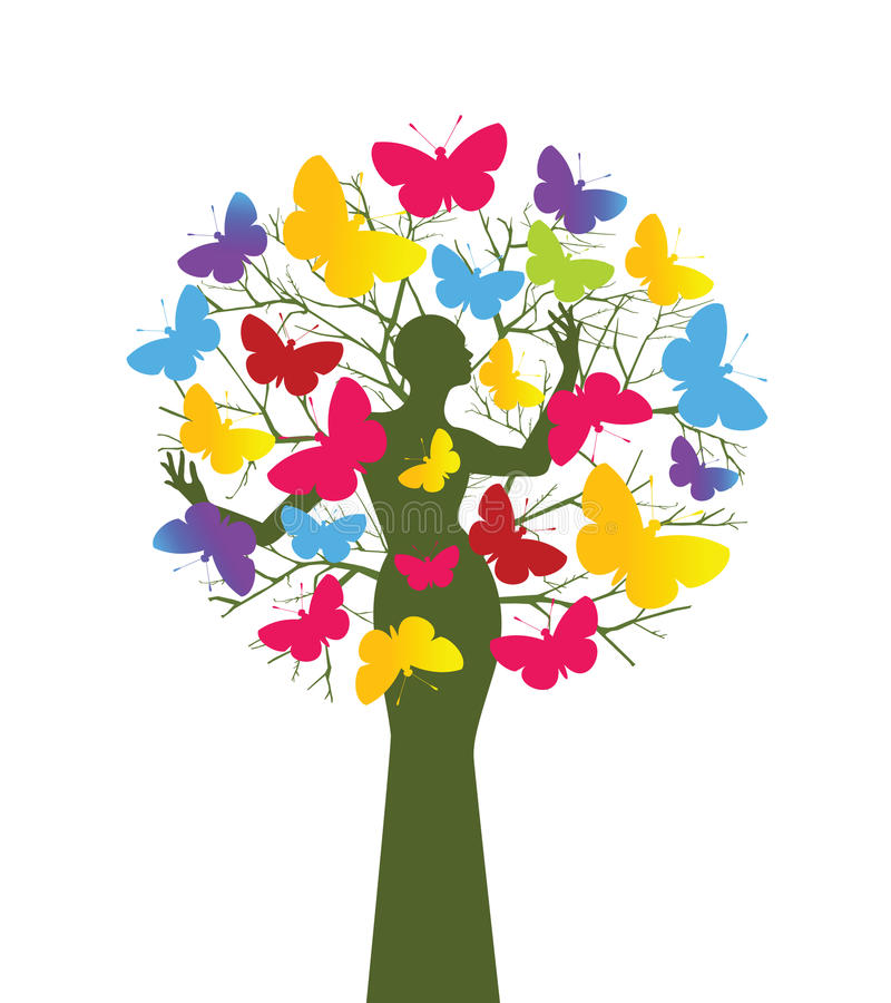 Butterfly tree. Woman as trunk environment or creativity concept