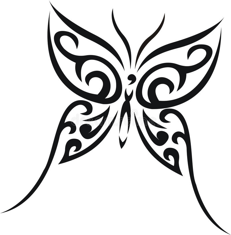 Butterfly tribal tattoo stock illustration