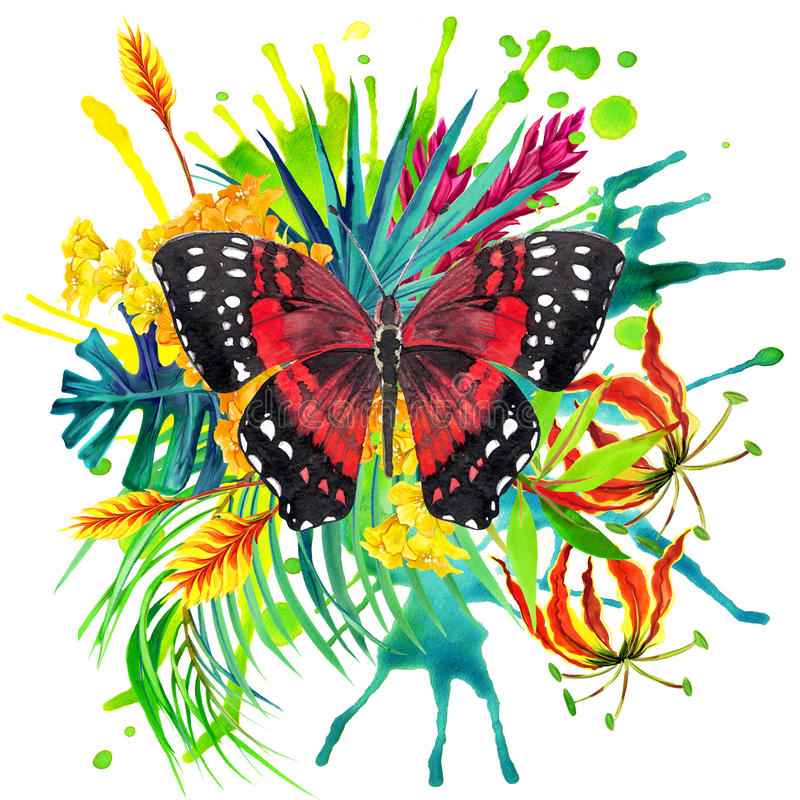 Butterfly, tropical leaves and exotic flower stock illustration
