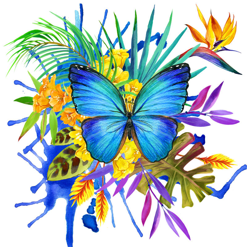 Butterfly, tropical leaves and exotic flower. In multicolored ink splattered watercolor background