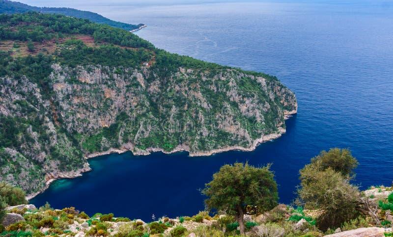 Butterfly Valley, Oludeniz, Fethiye, Mugla, Turkey.  Lycian way. Summer and holiday concept. Kelebekler Vadisi Panoramic view.  stock image
