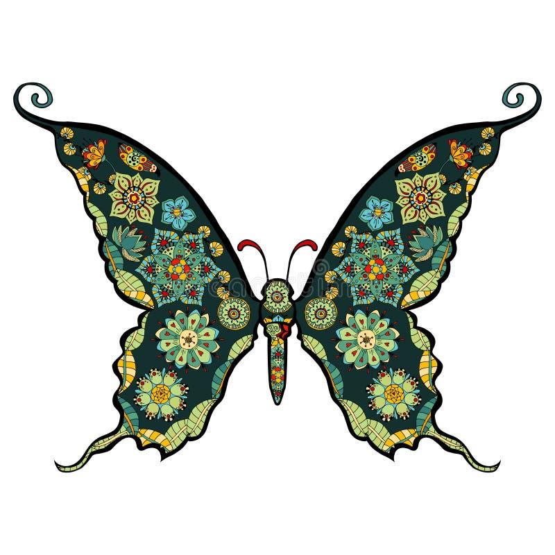 Butterfly vector. Hand drawn, zentangle stylized butterfly vector, illustration vector illustration