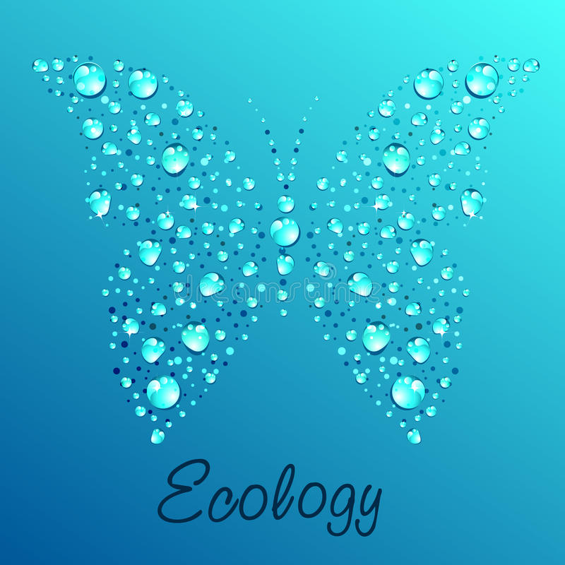Butterfly from water drops vector illustration