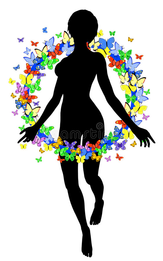 Download Butterfly woman stock vector. Image of nude, background - 8459196