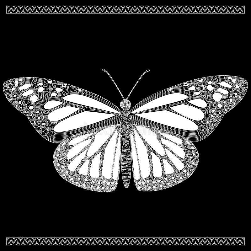 Butterfly in zenart style, white butterfly on black background stock illustration