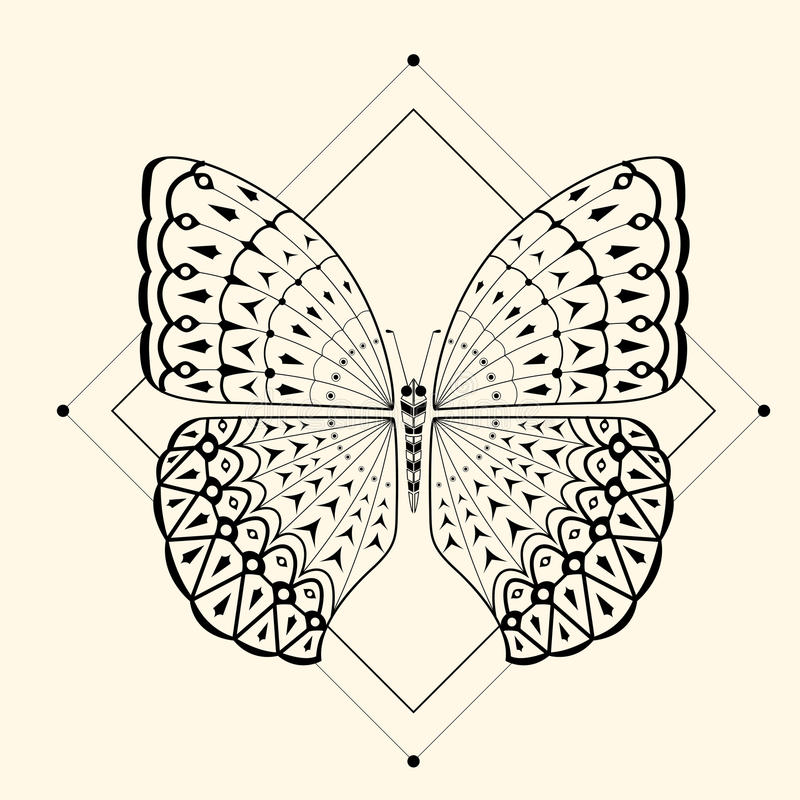 Butterfly zentangle 2 royalty free stock image