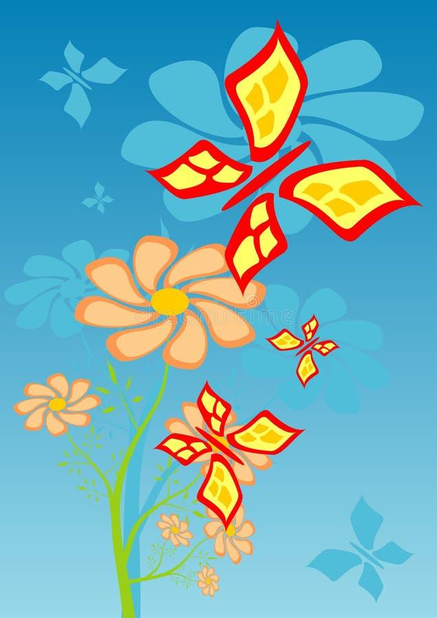 butterflyes λουλούδια ελεύθερη απεικόνιση δικαιώματος