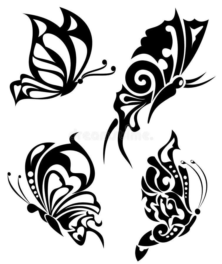 butterflys纹身花刺 库存例证