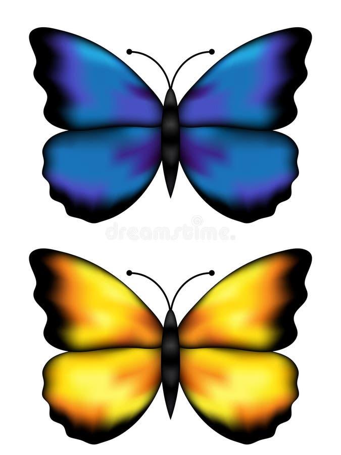 butterflys błękitny kolor żółty royalty ilustracja