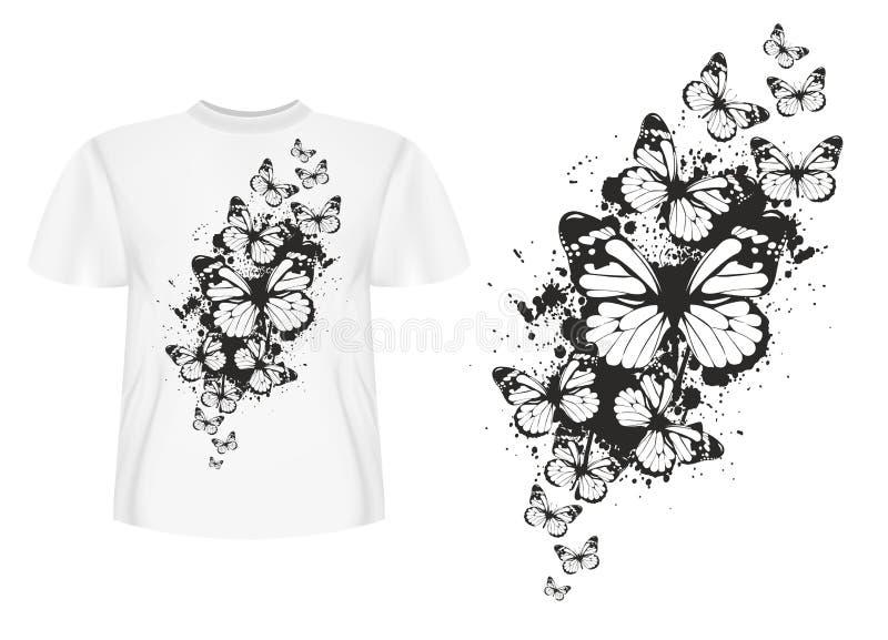 Butterflys di disegno della maglietta illustrazione di stock