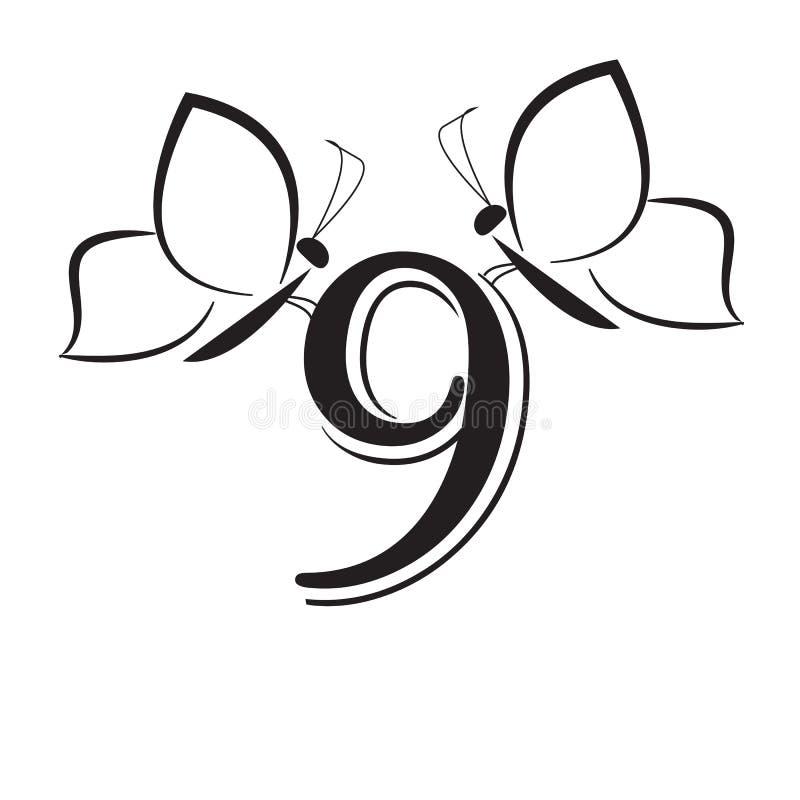 Butterflys mit Nr. neun stock abbildung