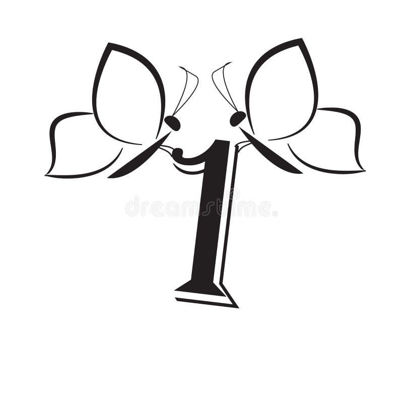 Butterflys mit Nummer Eins vektor abbildung