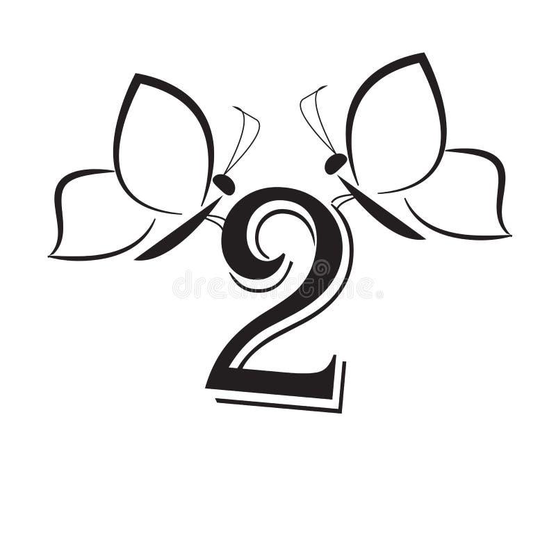 Butterflys mit Nummer zwei lizenzfreie abbildung