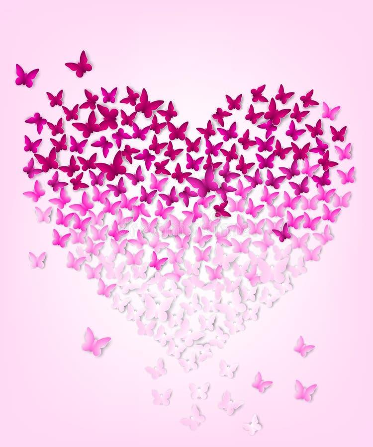 Butterflys w postaci serca, eps 10 ilustracja wektor