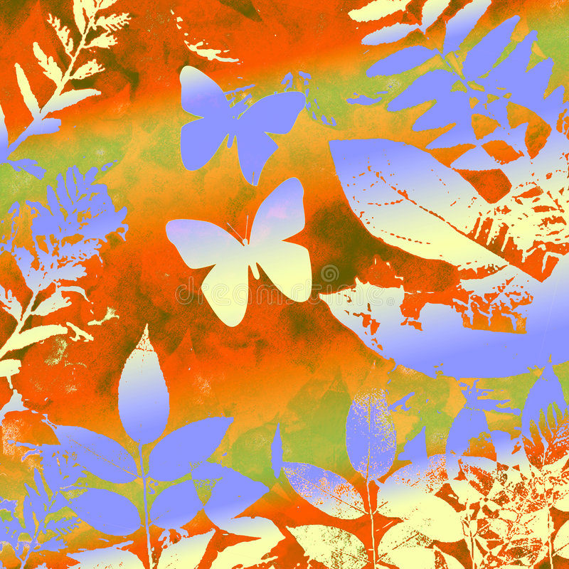 Butterly and leaves grunge