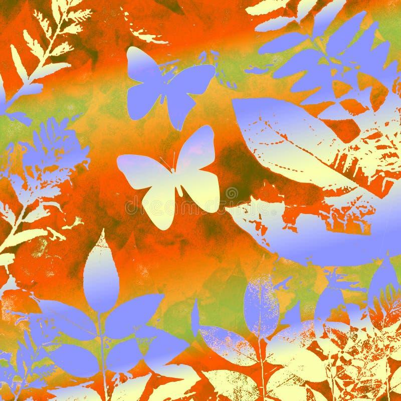 Butterly und Blätter grunge stock abbildung