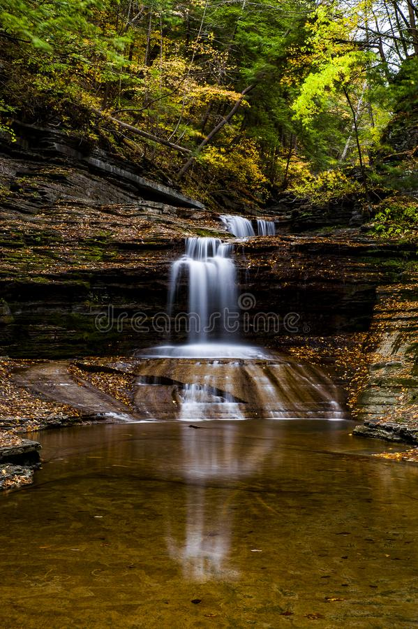 Buttermilch fällt Nationalpark - Autumn Waterfall - Ithaca, New York stockbilder