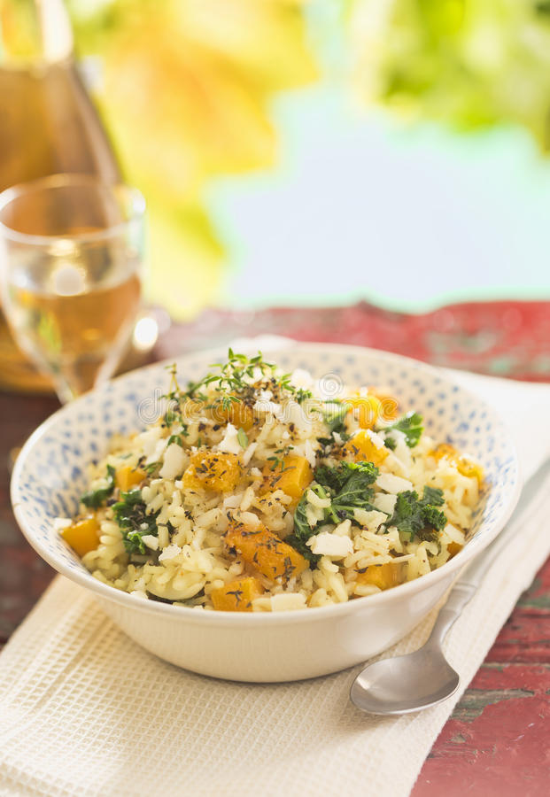 Butternut squash risotto. On summer day royalty free stock image