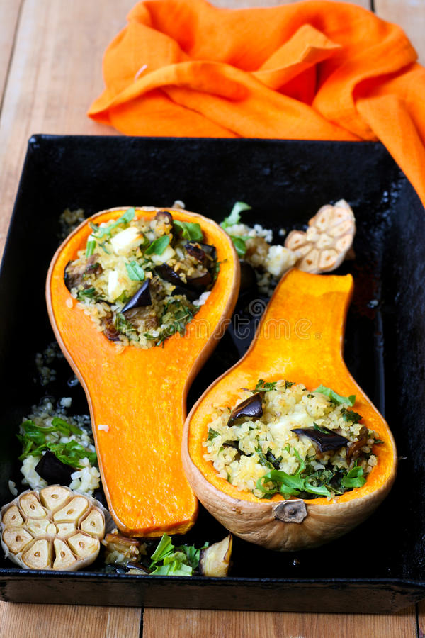 Butternut squash stuffed royalty free stock images