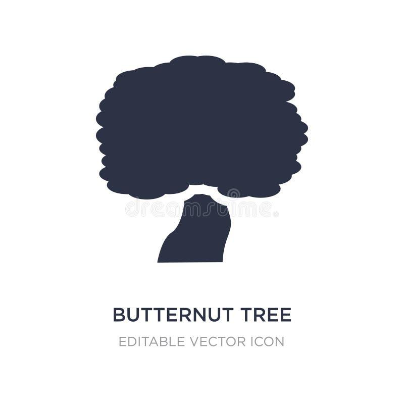 Butternutbaumikone auf weißem Hintergrund Einfache Elementillustration vom Naturkonzept stock abbildung